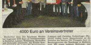 4000 Euro an Vereinsvertreter