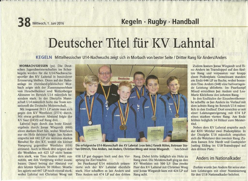 Deutscher Titel für KV Lahntal