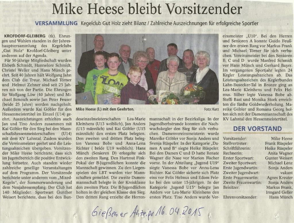 Mike Heese bleibt Vorsitzender