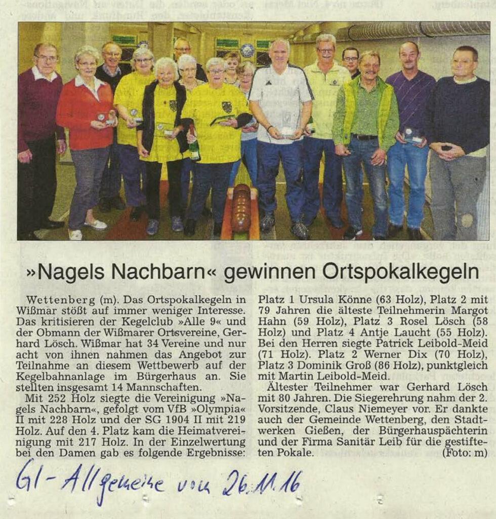 """Nagels Nachbarn"" gewinnen Ortspokalkegeln"