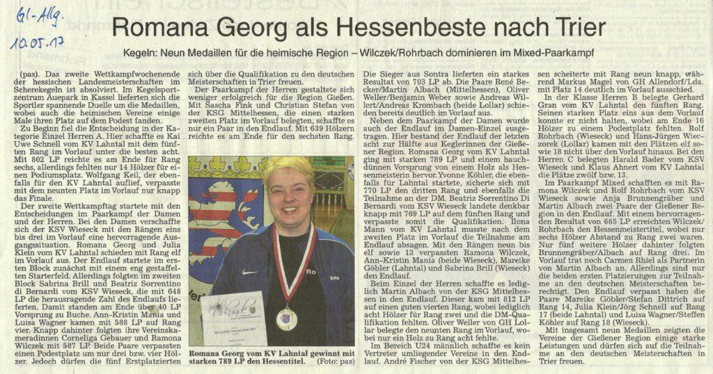 Romana Georg als Hessenbeste nach Trier