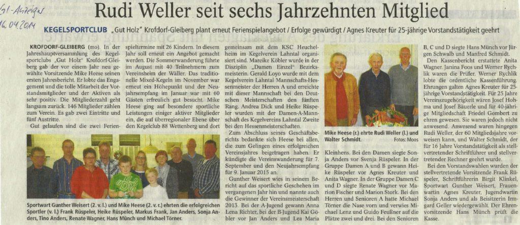 Rudi Weller seit sechs Jahrzehnten Mitglied