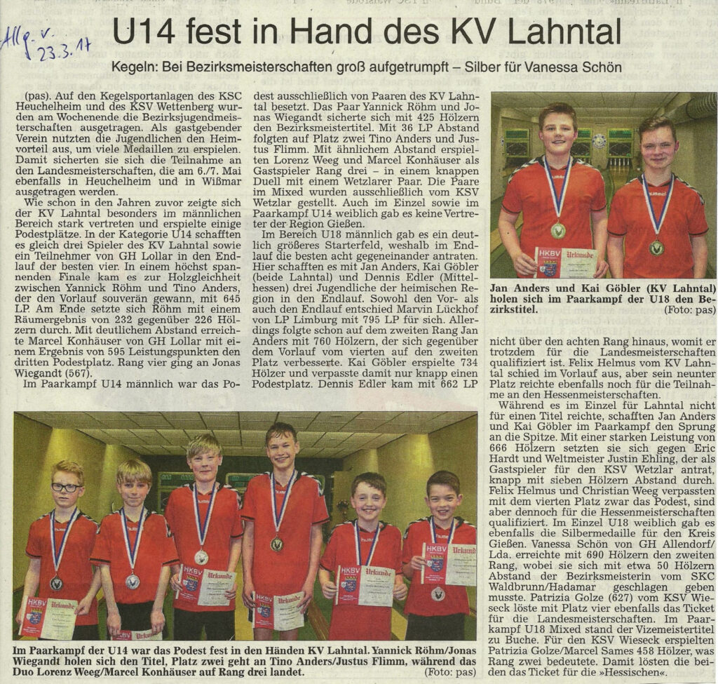 U14 fest in Hand des KV Lahntal