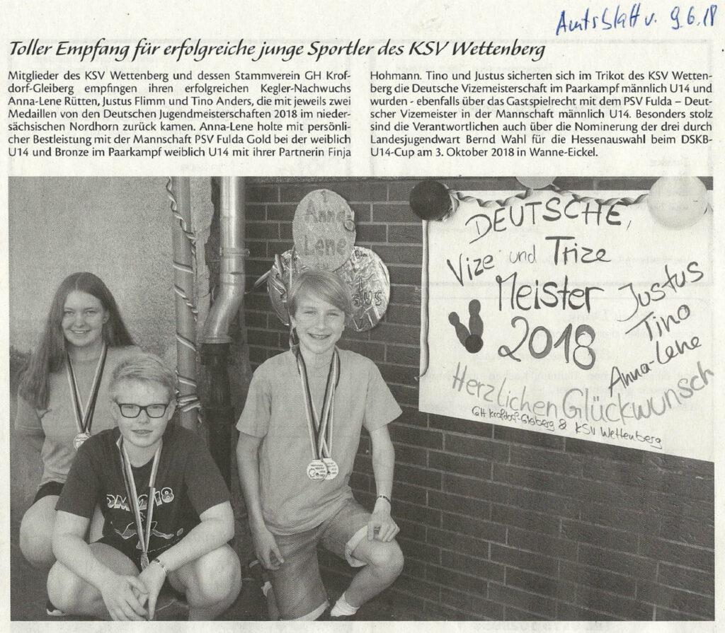 Toller Empfang für erfolgreiche junge Sportler des KSV Wettenberg