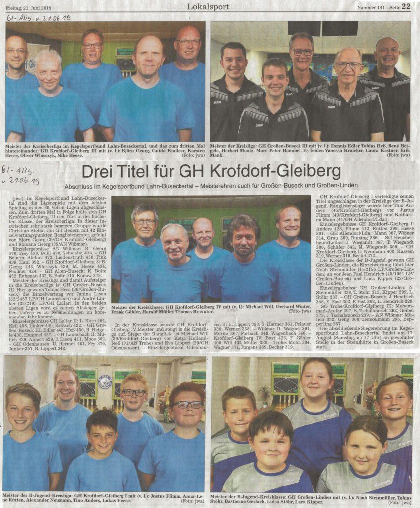 Drei Titel für GH Krofdorf-Gleiberg